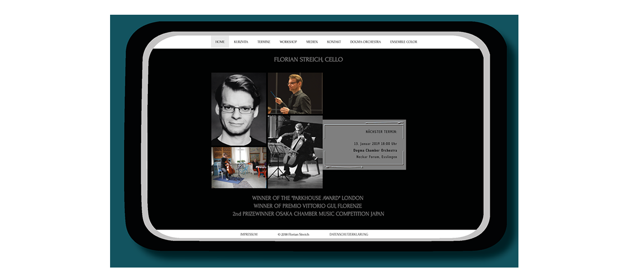 Desktopansicht Florian Streich, Cellist