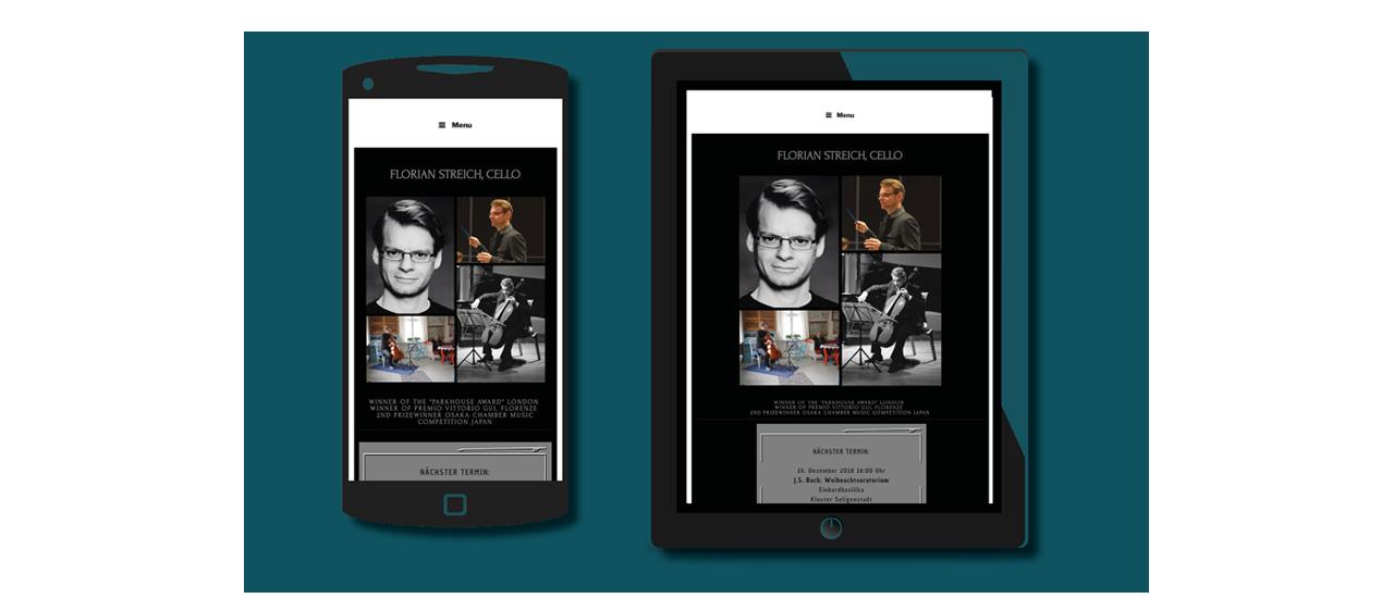 Mobil- und Tablettansicht Florian Streich, Cellist
